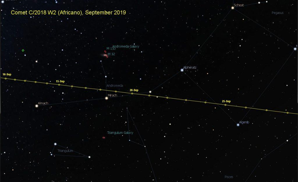 Comet Africano Finder Chart September